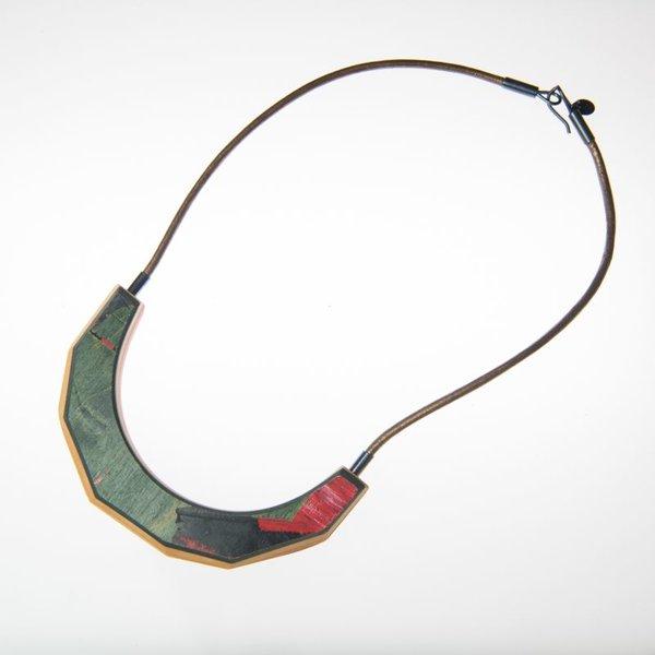 "Tara Locklear Tara Locklear, Arc Necklace, recycled skateboard, sterling silver, leather, 8.5x4"""