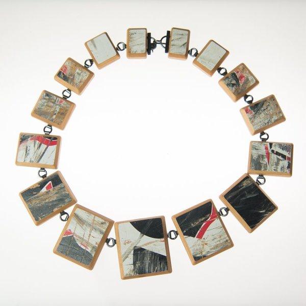 "Tara Locklear Tara Locklear, Graduted Square Cut Gem Necklace, recycled skateboard, sterling silver, 7.25x7"""