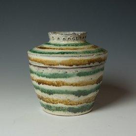 "Hunt and Dalglish Michael Hunt & Naomi Dalglish, Covered Jar, white slip, sgraffito, 7.5 x 7.25"""