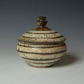"Hunt and Dalglish Michael Hunt & Naomi Dalglish, Covered Jar, white slip, sgraffito, 6.75 x 7"""