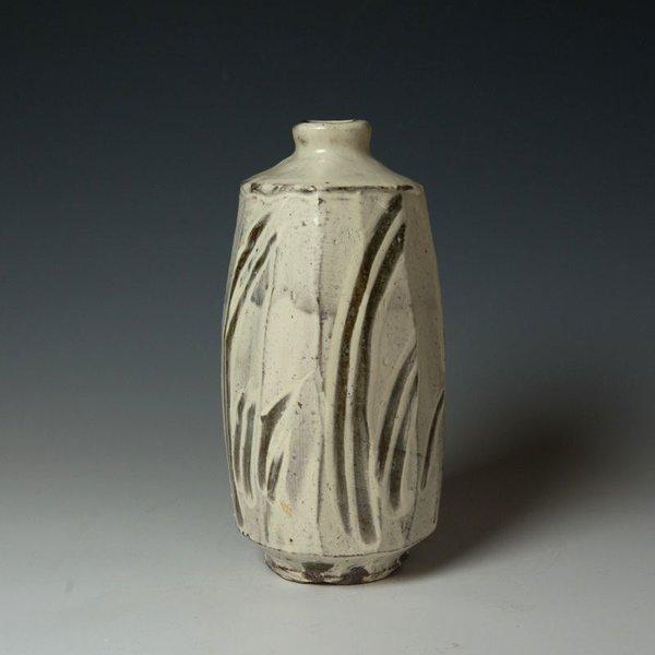 "Hunt and Dalglish Michael Hunt & Naomi Dalglish, Vase, white slip, sgraffito, 10.25 x 4.5 x 4.5"""
