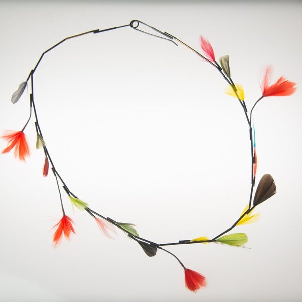 Gabrielle Gould Gabrielle Gould, Multi Feather Necklace, ss, 14k gold, feathers