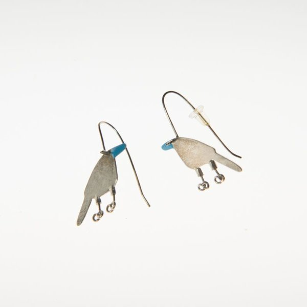 Gabrielle Gould Gabrielle Gould, Blue Beaked Partridge Earrings, ss, enamel