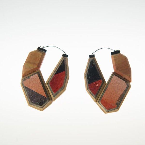 """Tara Locklear Tara Locklear, U-hoop Earrings, recycled skateboard, sterling silver, stainless steel, 2.5x1.75"""""""