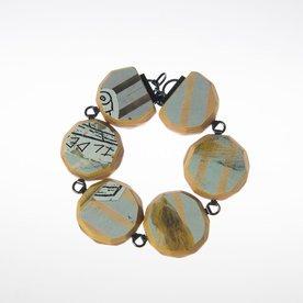 """Tara Locklear Tara Locklear, Gem Round Cut Link Bracelet, recycled skateboard, sterling silver 8.5x1.25"""""""