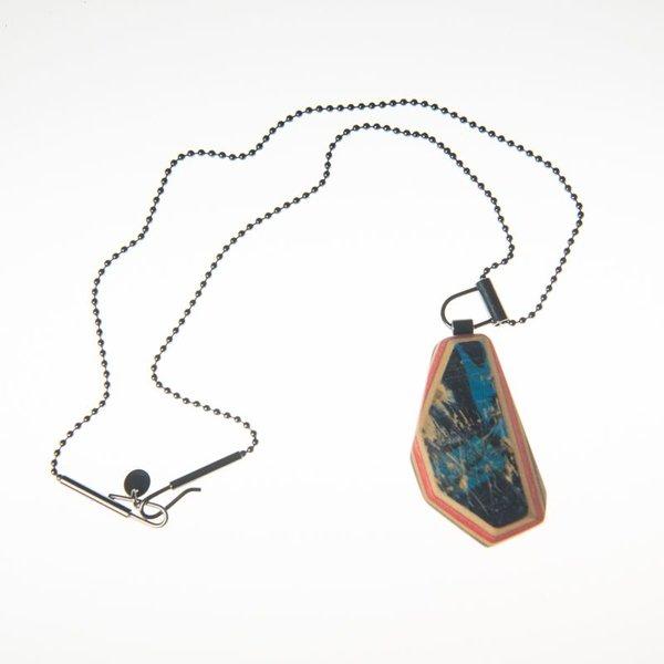 "Tara Locklear Tara Locklear, Medium Gem Pendant, recycled skateboard, sterling silver 12x1"""