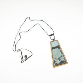 "Tara Locklear Tara Locklear, Medium Gem Pendant, recycled skateboard, sterling silver, 11.25x1.25"""