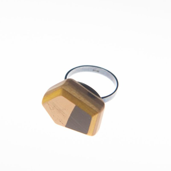 "Tara Locklear Tara Locklear, Gem Solitaire Ring, recycled skateboard, sterling silver, 0.75x1"""