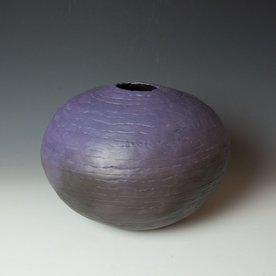 "Ann Housworth Ann Housworth, Coil Pot, earthenware, underglaze, smoked, 10.5 x 14"" dia"