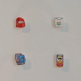 "Brooke Rothshank Brooke Rothshank, Morning Basics, watercolor, paper, frame 9x9"""