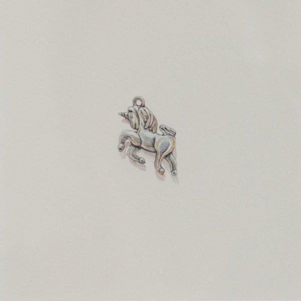 "Brooke Rothshank Brooke Rothshank, Unicorn Charm, watercolor, paper, frame 9x9"""