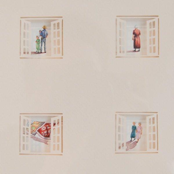 "Brooke Rothshank Brooke Rothshank, Four Square, watercolor, paper, frame 9x9"""