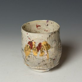 """Ted Saupe Ted Saupe,  Yunomi, porcelain, black stain, glaze, luster, 3.75 x 3.25"""" dia"""