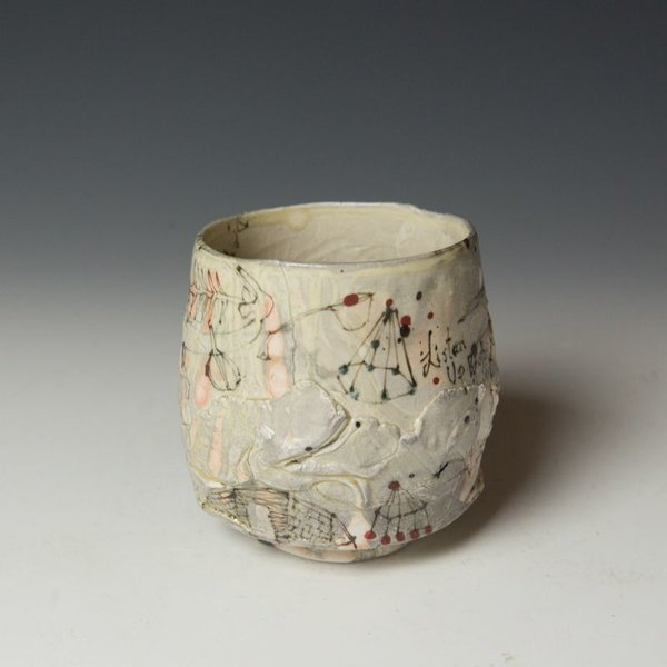 """Ted Saupe Ted Saupe,  Yunomi, porcelain, black stain, glaze, 4.25 x 4.25"""" dia"""
