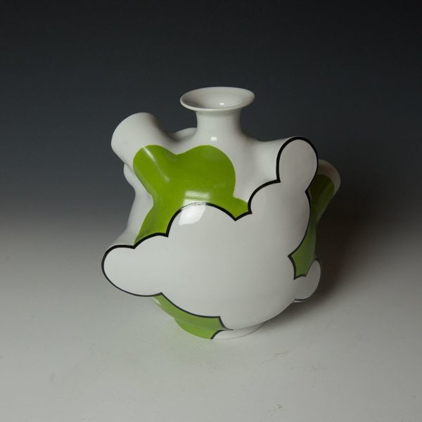 "Sam Chung Sam Chung, Cloud Flask, porcelain, glaze, 9.5 x 10.5 x 6"""