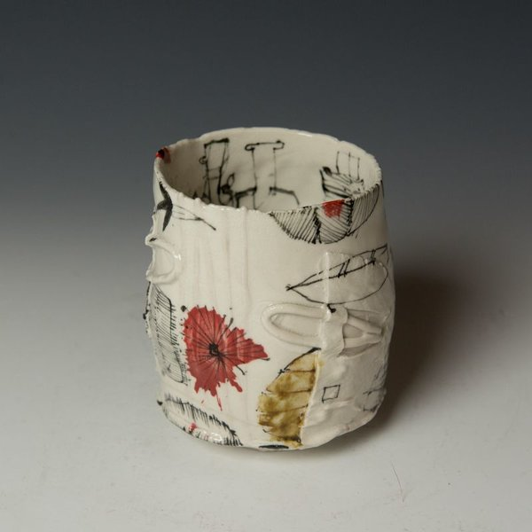 """Ted Saupe Ted Saupe,  Yunomi, porcelain, black stain, glaze, 4.75 x 4"""" dia"""