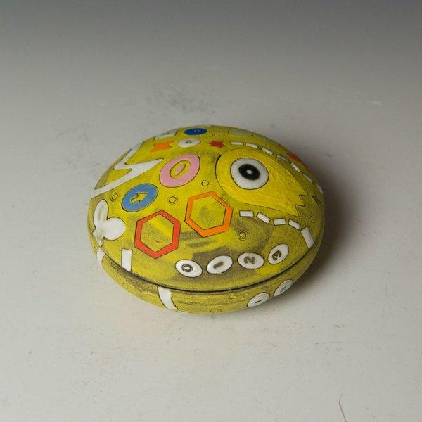 "Masa Sasaki Masa Sasaki, Alien Salt Cellar, chocolate clay, glaze, 2.5 x 4"" dia"