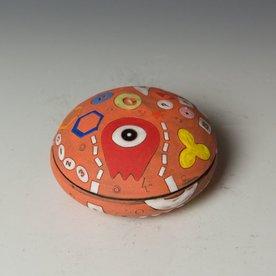 "Masa Sasaki Masa Sasaki, Alien Salt Cellar, chocolate clay, glaze, 2.5 x 4"" dia."