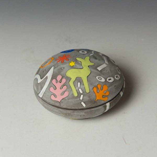 """Masa Sasaki Masa Sasaki, Salt Cellar, chocolate clay, glaze, 2.5 x 4"""" dia."""