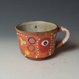 """Masa Sasaki Masa Sasaki, Alien Mug, chocolate clay, glaze, 3.25 x 5.25 x 4"""""""
