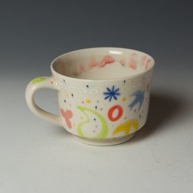 """Masa Sasaki Masa Sasaki, Princess Mug, porcelain clay, glaze, 3.25 x 5.25 x 4.25"""""""