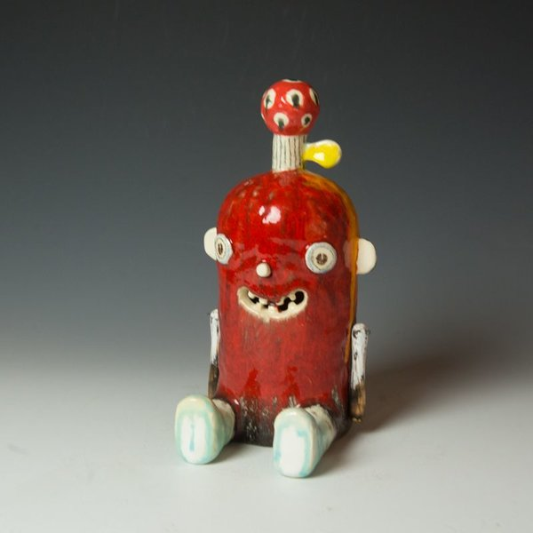 Taehoon Kim Taehoon Kim, Sweet Monster II, fired clay, glaze, wood, wire, 10.75 x 5 x 6""