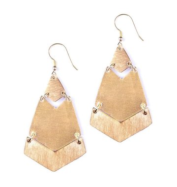 Mata Traders Brushed Brass Earrings