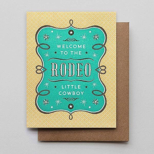Hammerpress Rodeo Cowboy Blank Greeting Card