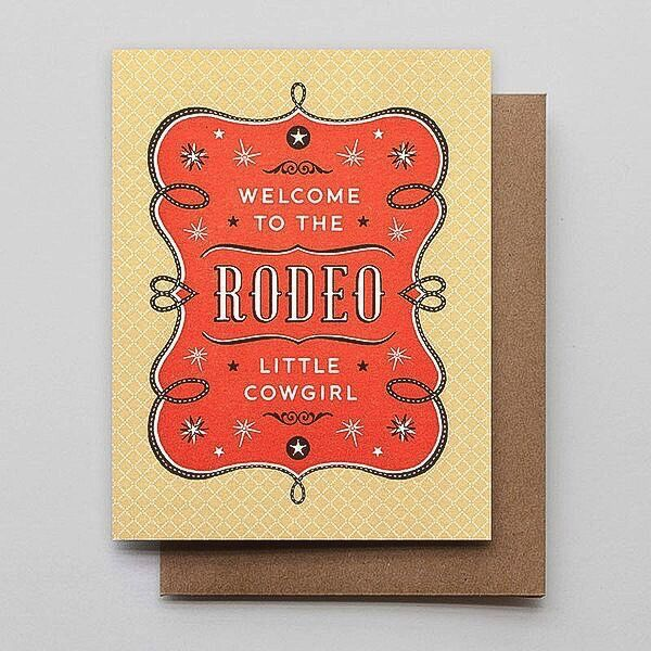 Hammerpress Rodeo Cowgirl Blank Greeting Card