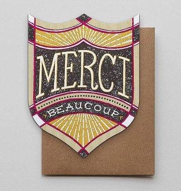 Hammerpress Merci Beaucoup Badge Blank Greeting Card