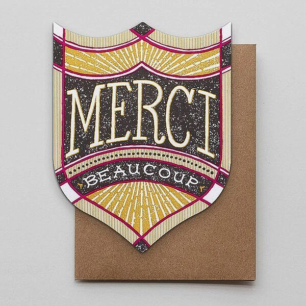 Hammerpress Merci Beaucoup Badge Blank Greeting Card