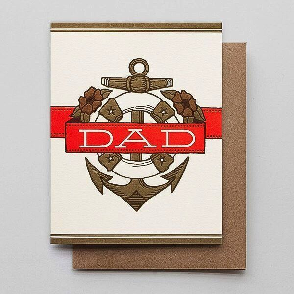 Hammerpress Dad Anchor & Banner Blank Greeting Card