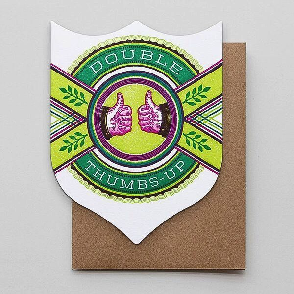 Hammerpress Double Thumbs Up Badge Blank Greeting Card