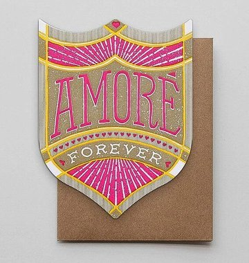 Hammerpress Amore Forever Badge Blank Greeting Card
