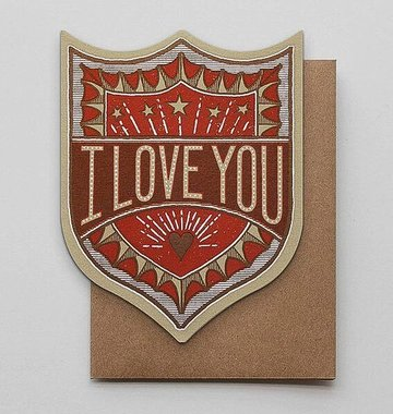 Hammerpress I Love You Badge Blank Greeting Card
