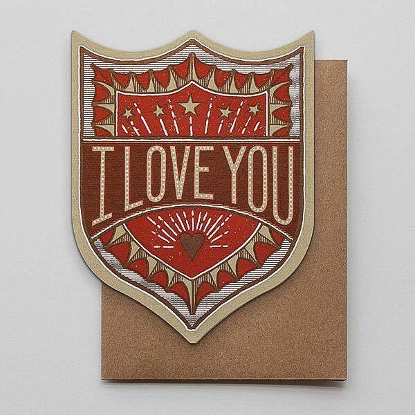 Hammerpress I Love You Badge Blank Greeting Card