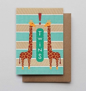 Hammerpress Giraffe Twins Blank Greeting Card