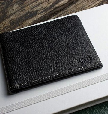 Kiko Leather Handcrafted Pebbled Leather Classic Wallet - Black