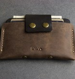 Kiko Leather Handcrafted Button Up Leather Card Case - Brown