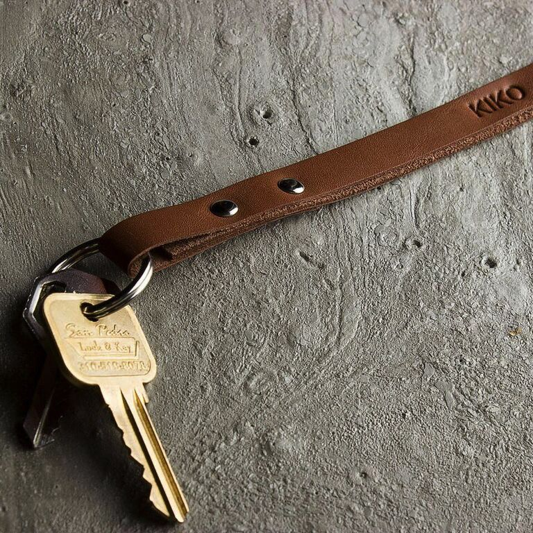 Kiko Leather Handcrafted Leather Keychain - Brown
