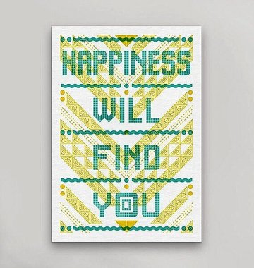 Hammerpress Happiness Will Find You Postcard