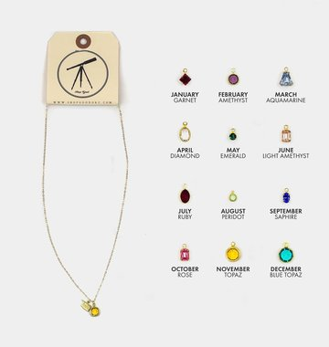 Sloane Kaitlyn Tiny OK Birthstone Charm Necklace