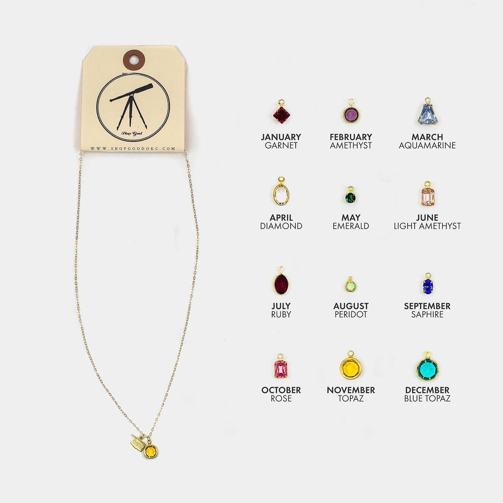 Sloane Kaitlyn Tiny OK Charm Necklace - Custom Birthstone
