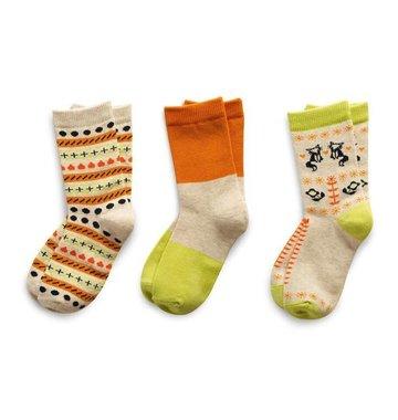 Richer Poorer Girls Sock Gift Set - Lime & Orange Fox