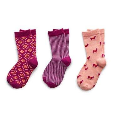 Richer Poorer Girls Sock Gift Set - Purple & Pink Llama