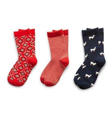 Richer Poorer Girls Sock Gift Set - Red & Navy Llama