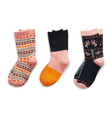 Richer Poorer Girls Sock Gift Set - Pink & Navy Fox