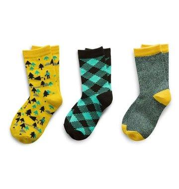 Richer Poorer Boys Sock Gift Set - Yellow & Teal Lumberjack