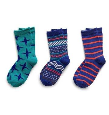 Richer Poorer Boys Sock Gift Set - Teal & Blue Tribal