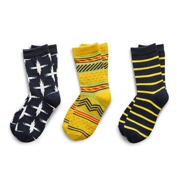 Richer Poorer Boys Sock Gift Set - Navy & Yellow Tribal
